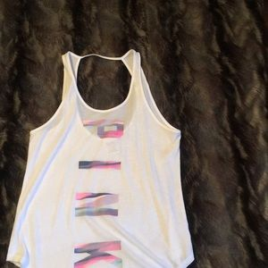 Pink VS white open back tank